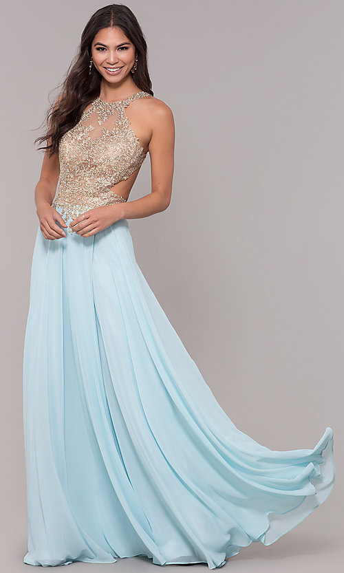 Image of long open-back embroidered-bodice chiffon prom dress. Style: NA-S202 Detail Image 3