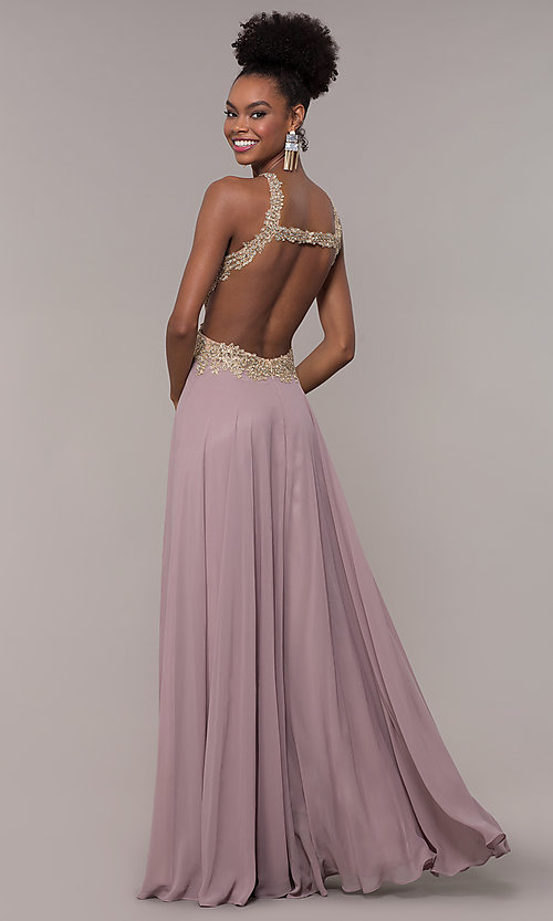 Image of long open-back embroidered-bodice chiffon prom dress. Style: NA-S202 Detail Image 5