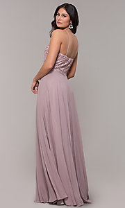 Image of high-neck embroidered-bodice chiffon long prom dress. Style: NA-Y135 Detail Image 5