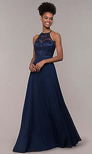 Image of high-neck embroidered-bodice chiffon long prom dress. Style: NA-Y135 Detail Image 4