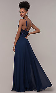 Image of high-neck embroidered-bodice chiffon long prom dress. Style: NA-Y135 Back Image