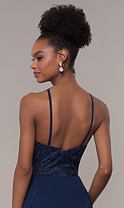 Image of high-neck embroidered-bodice chiffon long prom dress. Style: NA-Y135 Detail Image 7