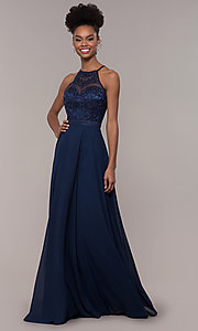 Image of high-neck embroidered-bodice chiffon long prom dress. Style: NA-Y135 Detail Image 3