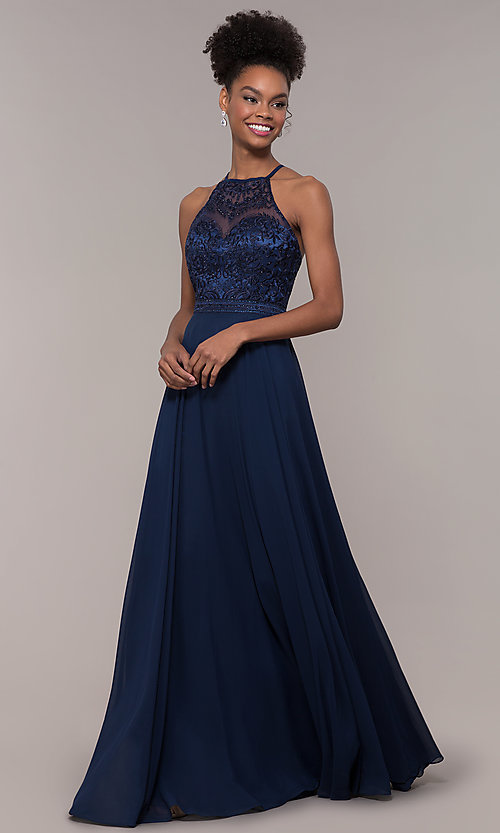Image of high-neck embroidered-bodice chiffon long prom dress. Style: NA-Y135 Front Image