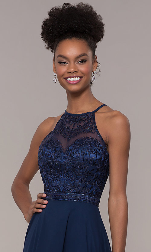 Image of high-neck embroidered-bodice chiffon long prom dress. Style: NA-Y135 Detail Image 6