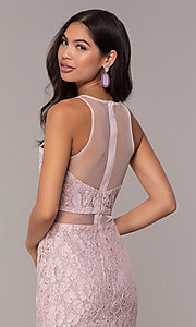 Image of long lace mauve pink illusion prom dress by PromGirl. Style: SOI-PL-D18608 Detail Image 2