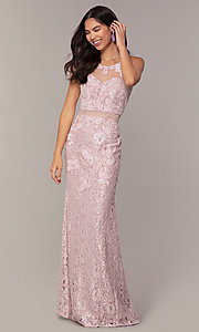 Image of long lace mauve pink illusion prom dress by PromGirl. Style: SOI-PL-D18608 Detail Image 3