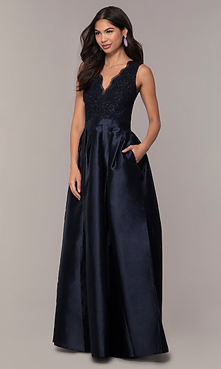 Pleated A-Line Long Prom Dress by PromGirl