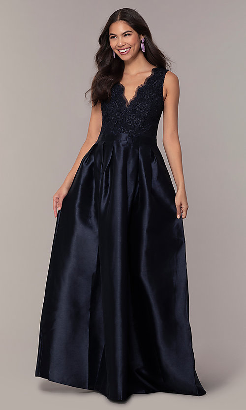 Image of pleated a-line long prom dress by PromGirl. Style: SOI-PL-D18607 Detail Image 3