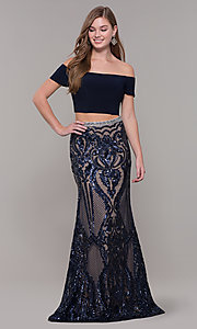 Image of long two-piece navy blue prom dress with beading. Style: JT-663 Front Image