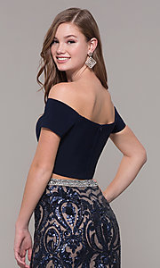 Image of long two-piece navy blue prom dress with beading. Style: JT-663 Detail Image 2