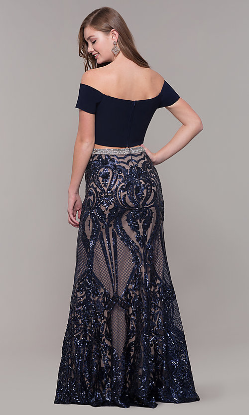 Image of long two-piece navy blue prom dress with beading. Style: JT-663 Back Image