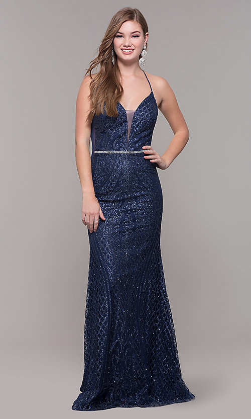 Image of long glitter and beaded v-neck prom dress. Style: JT-681 Front Image