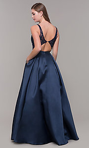 Image long navy v-neck prom dress with beaded bodice. Style: JT-682 Back Image