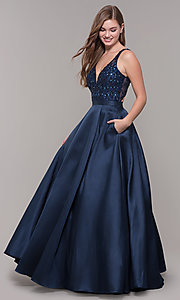 Image long navy v-neck prom dress with beaded bodice. Style: JT-682 Detail Image 3