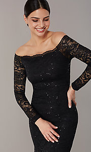 Image of long sequin-lace off-the-shoulder MOB dress. Style: CL-46248 Detail Image 4