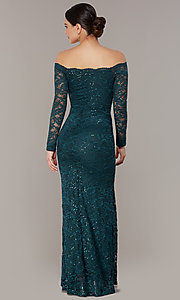 Image of long sequin-lace off-the-shoulder MOB dress. Style: CL-46248 Back Image