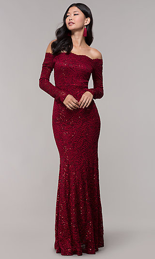 Long Sequin-Lace Off-the-Shoulder MOB Dress