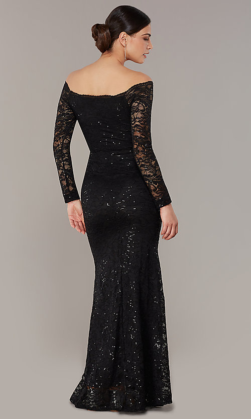 Image of long sequin-lace off-the-shoulder MOB dress. Style: CL-46248 Detail Image 3