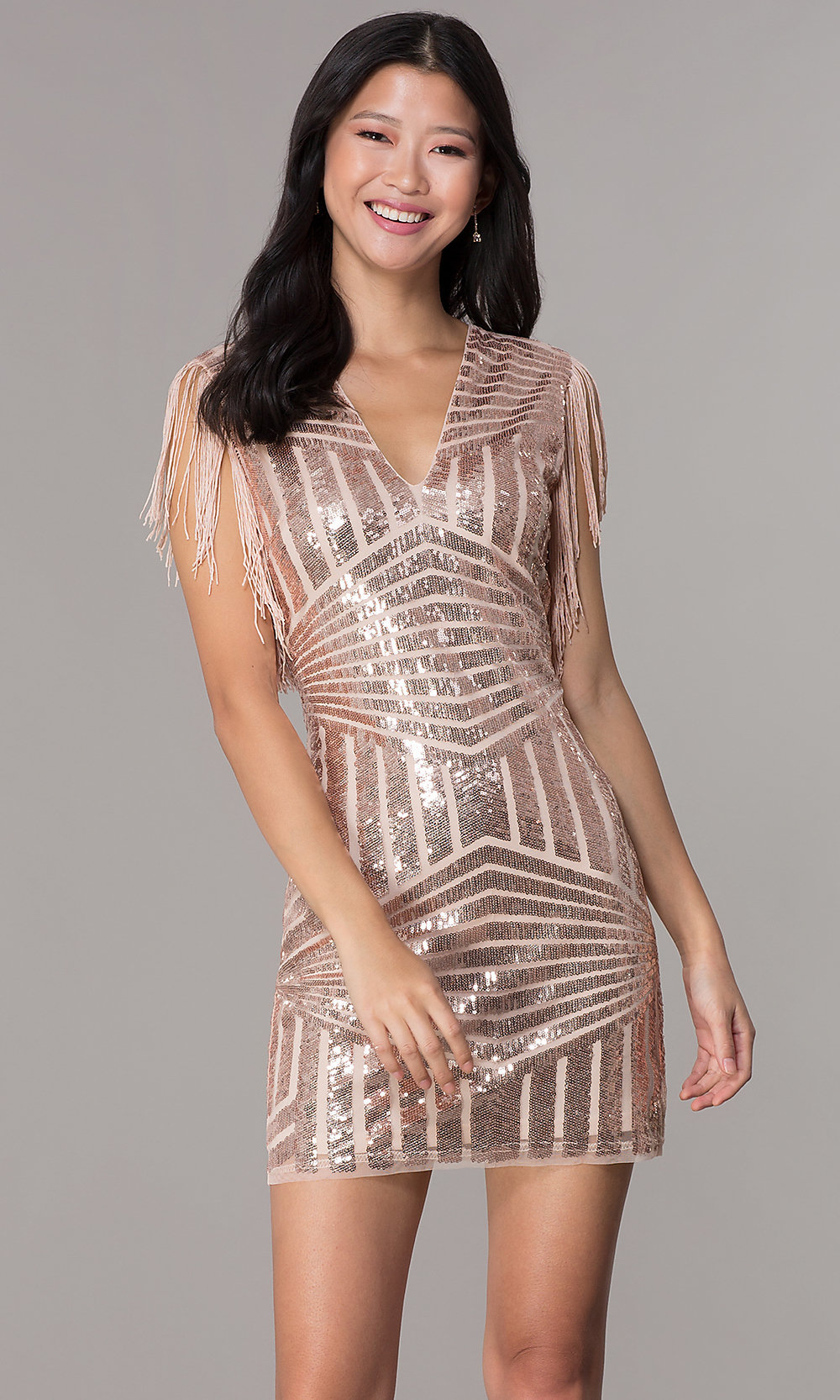 c892496b53 Art-Deco-Style V-Neck Party Holiday Dress - PromGirl