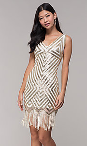 Image of gold short sequin holiday dress with fringe. Style: VE-658-215483-1 Front Image