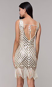 Image of gold short sequin holiday dress with fringe. Style: VE-658-215483-1 Back Image