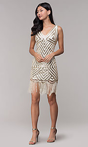 Image of gold short sequin holiday dress with fringe. Style: VE-658-215483-1 Detail Image 1