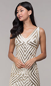 Image of gold short sequin holiday dress with fringe. Style: VE-658-215483-1 Detail Image 2