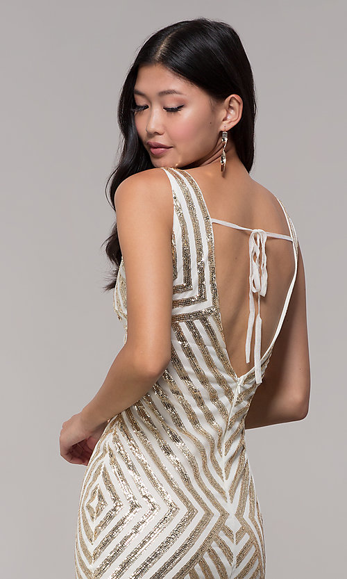 Image of gold short sequin holiday dress with fringe. Style: VE-658-215483-1 Detail Image 3