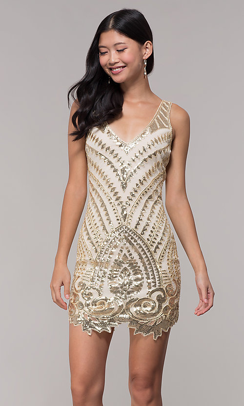 4046e783a91 Image of short gold sequin open-back holiday dress. Style  VE-628