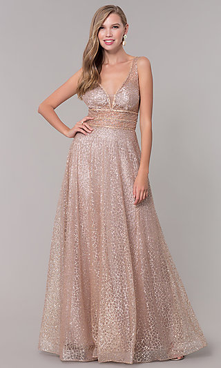 Long V-Neck Prom Dress with Allover Glitter Pattern