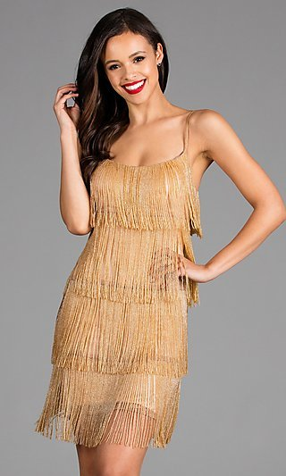 Short Fringed Scala Homecoming Dress