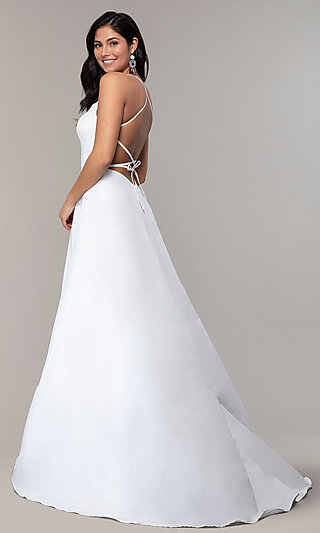Long Side Slit Mock Wrap Open Back Prom Dress
