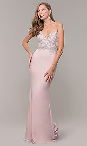 Image of long lace-appliqued v-neck prom dress. Style: ZG-PL-32754J Front Image