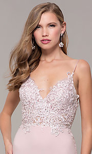 Image of long lace-appliqued v-neck prom dress. Style: ZG-PL-32754J Detail Image 1