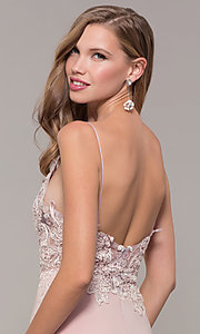 Image of long lace-appliqued v-neck prom dress. Style: ZG-PL-32754J Detail Image 2