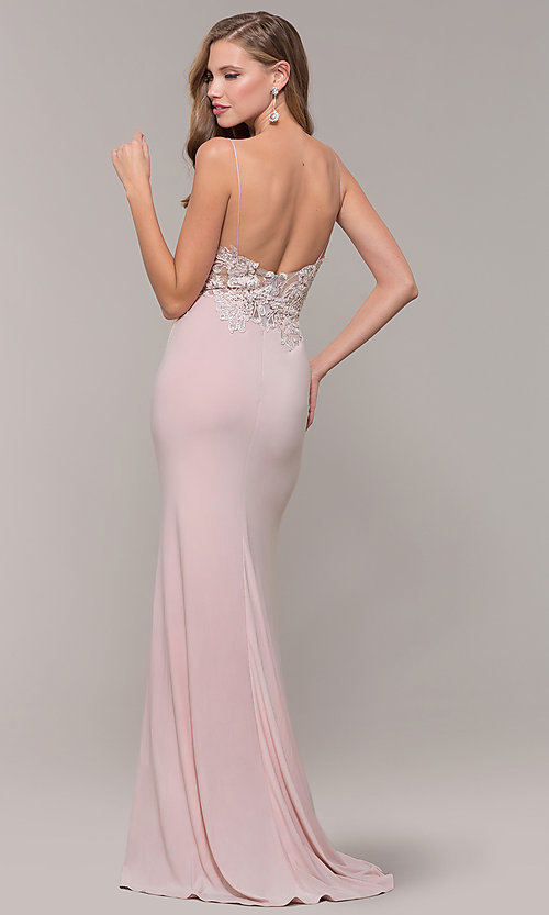 Image of long lace-appliqued v-neck prom dress. Style: ZG-PL-32754J Back Image