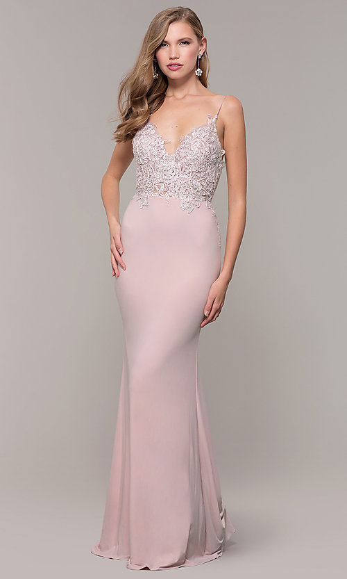 Image of long lace-appliqued v-neck prom dress. Style: ZG-PL-32754J Detail Image 3