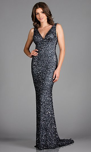 Long Sequin Open V-Back Formal Dress