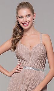 Image of long pleated sweetheart prom dress with open back. Style: TE-8026 Detail Image 6