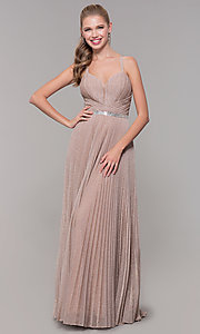 Image of long pleated sweetheart prom dress with open back. Style: TE-8026 Detail Image 8