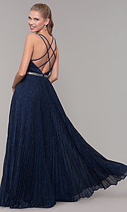 Image of long pleated sweetheart prom dress with open back. Style: TE-8026 Front Image