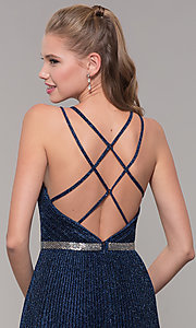 Image of long pleated sweetheart prom dress with open back. Style: TE-8026 Detail Image 2