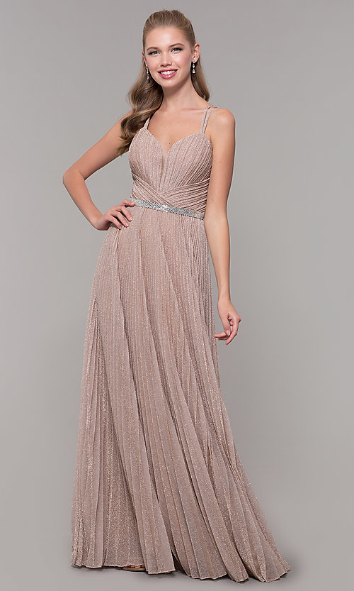 Image of long pleated sweetheart prom dress with open back. Style: TE-8026 Detail Image 4