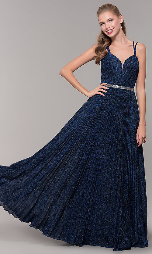 Image of long pleated sweetheart prom dress with open back. Style: TE-8026 Back Image