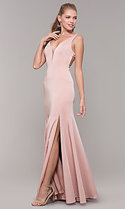 Image of long side-slit v-neck prom dress with open back. Style: TE-8035 Front Image