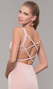 Image of long side-slit v-neck prom dress with open back. Style: TE-8035 Detail Image 2