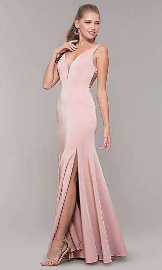 Long Side-Slit V-Neck Prom Dress with Open Back