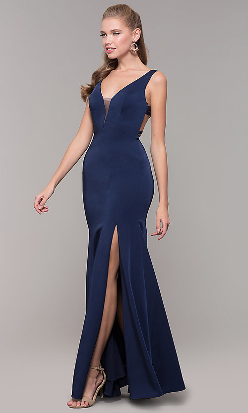 Image of long side-slit v-neck prom dress with open back. Style: TE-8035 Detail Image 4
