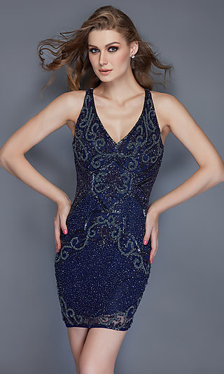 Beaded Open-Back Homecoming Dress with a V-Neck